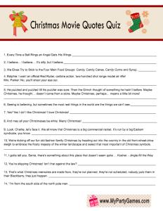 Christmas Movie Quotes Quiz