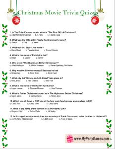 Free Printable Christmas Movie Trivia Quiz Worksheet
