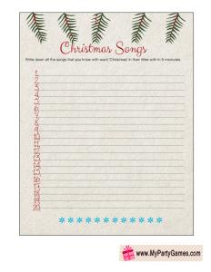 Free Printable Christmas Songs Game Worksheet