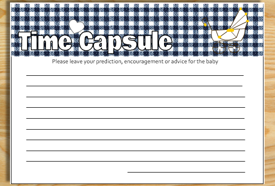 Free Printable Cards for Baby Time Capsule