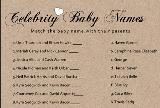 Free Printable Celebrity Baby Name Game