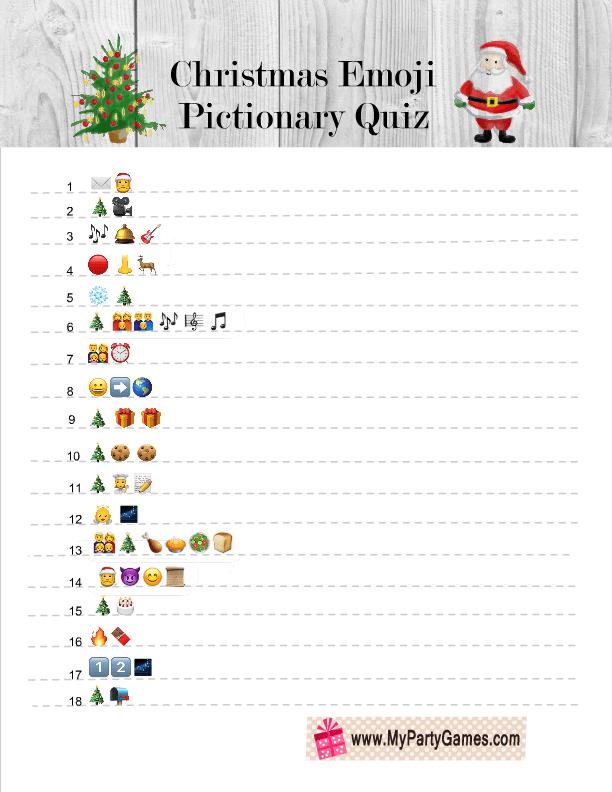 Free Printable Christmas Emoji Pictionary Quiz