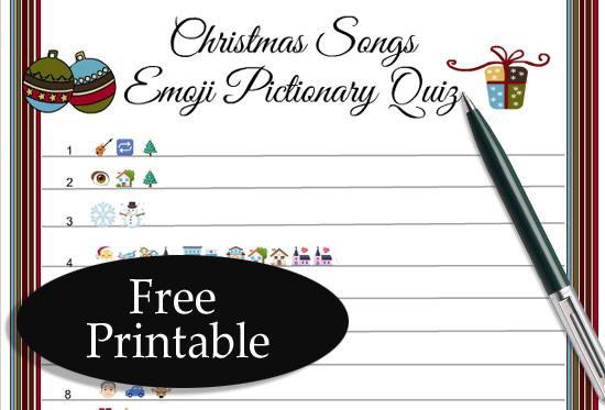 Free Printable Christmas Songs Emoji Pictionary Quiz