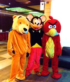 Book cartoon mascots for birthday party