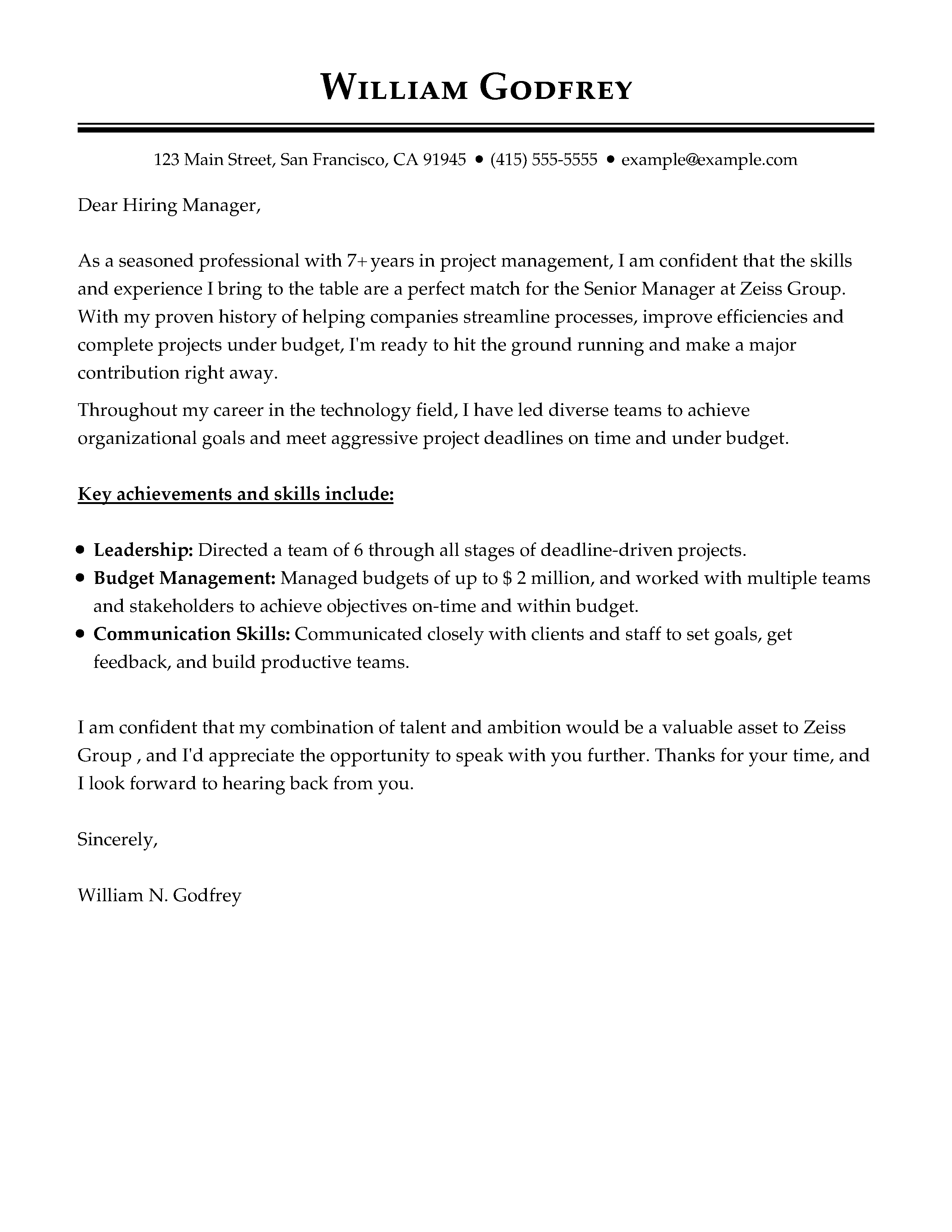 Cover Letter Templates My Perfect Cover Letter