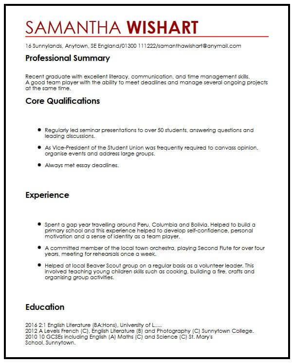 Cv Sample With No Job Experience Myperfectcv
