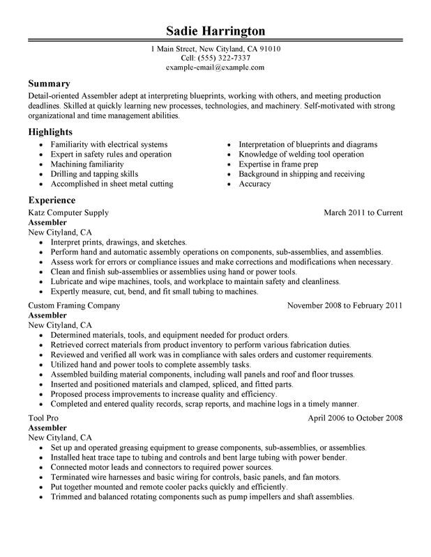 Assembler Resume Examples Free To Try Today Myperfectresume