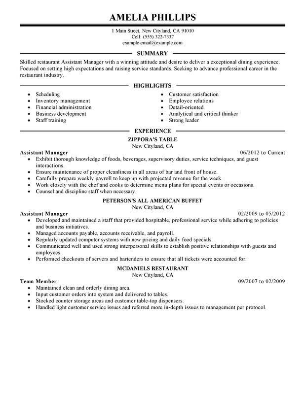 Asst Restaurant Manager Resume Examples Myperfectresume