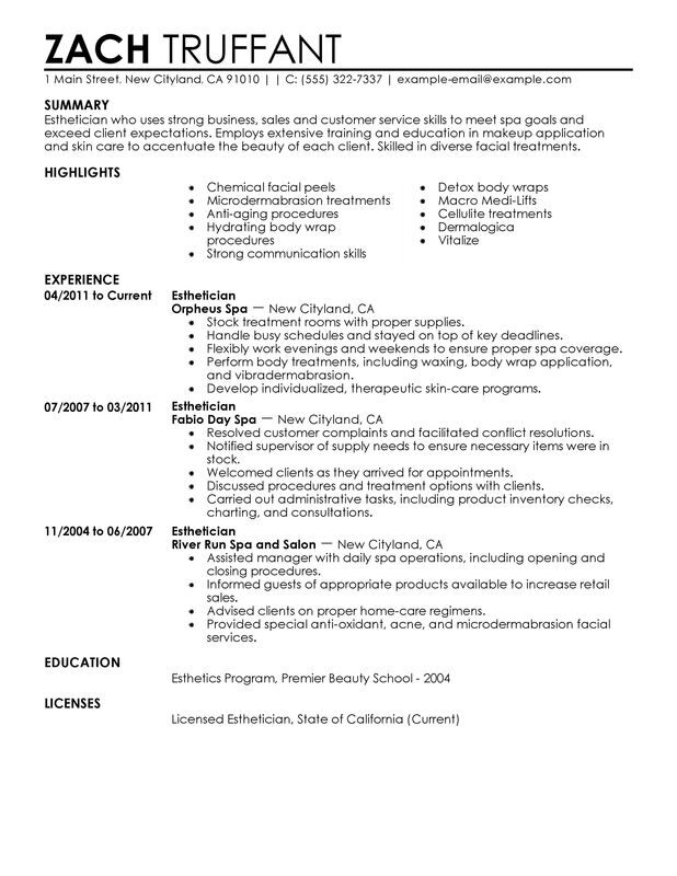 Esthetician Resume Examples Created By Pros