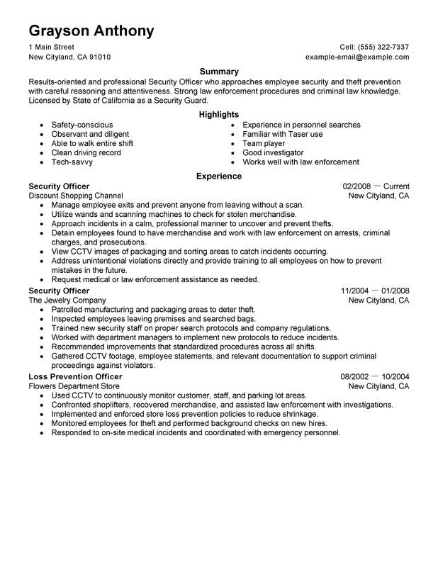 Sample Security Officer Resume