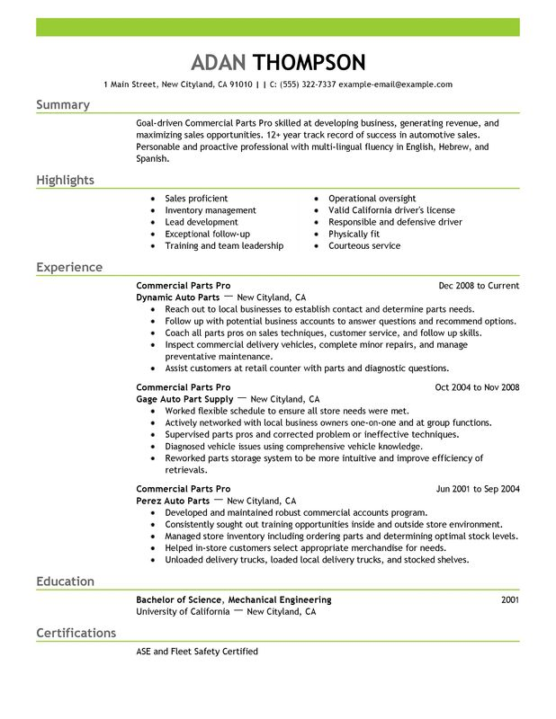 Commercial Parts Pro Resume Examples Free To Try Today