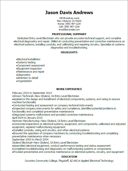 Entry Level Electrician Resume Template