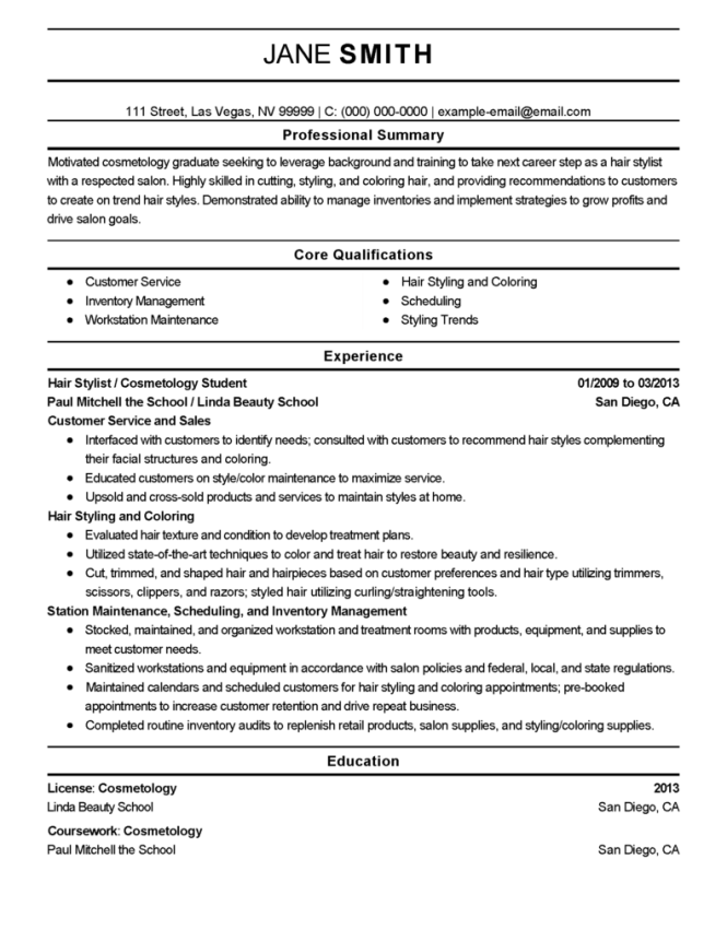 Professional Cosmetology Student Templates To Showcase Your Talent Cosmetologist Resume