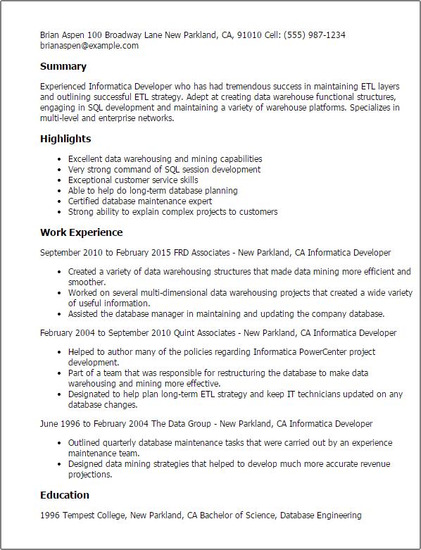 Informatica Teradata Developer Resume March 2021