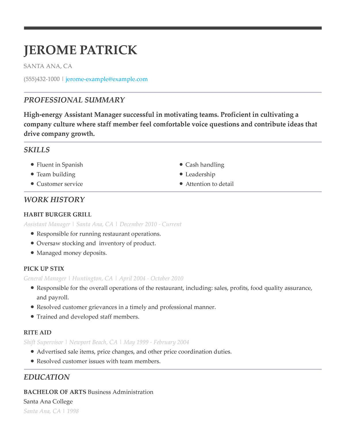 Unforgettable Restaurant Server Resume Examples To Stand