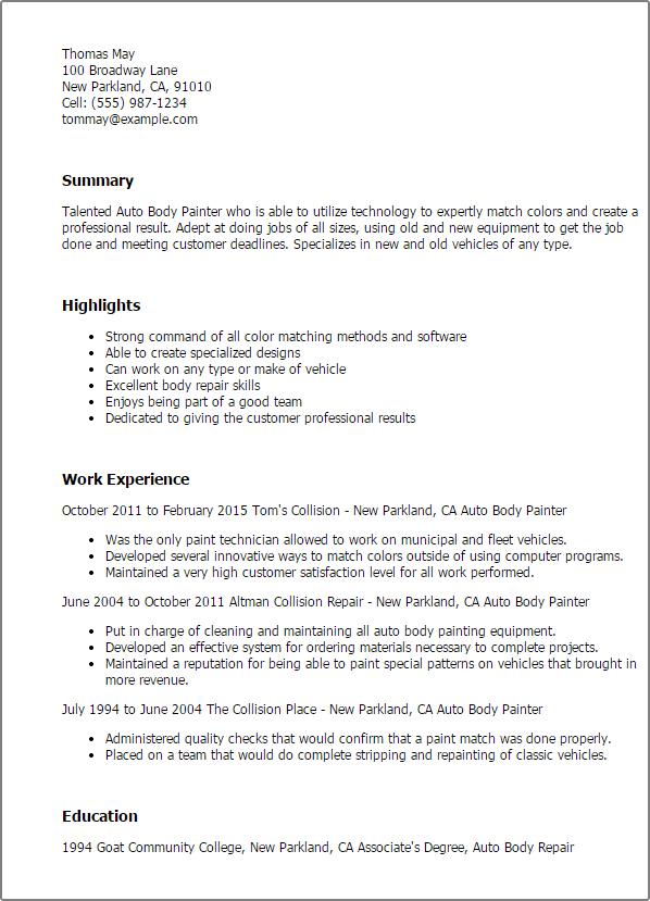 Painting Resume Resume Sample