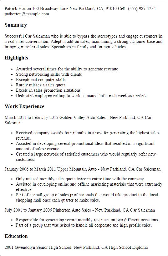 salesman resume examples