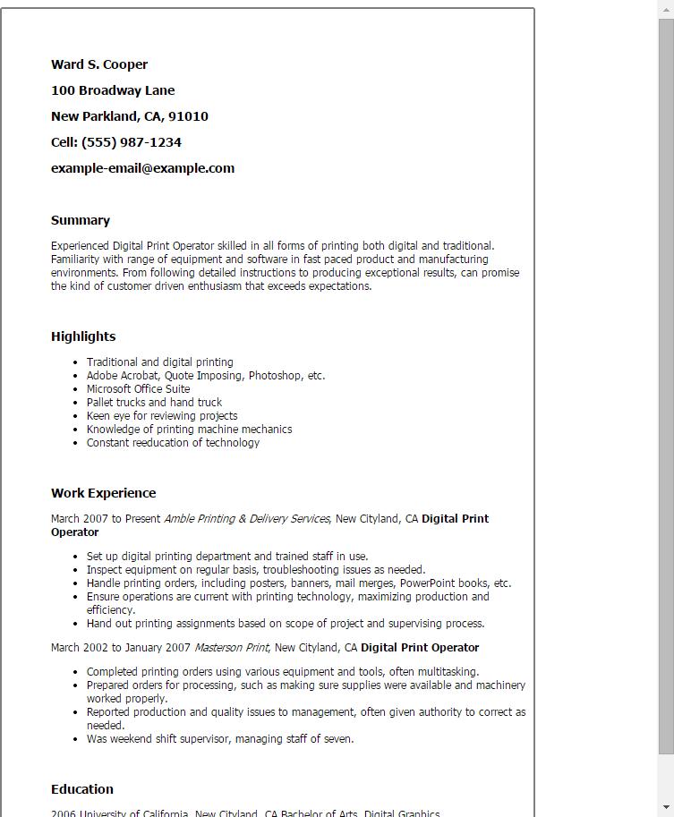 Digital Print Operator Resume Example Myperfectresume