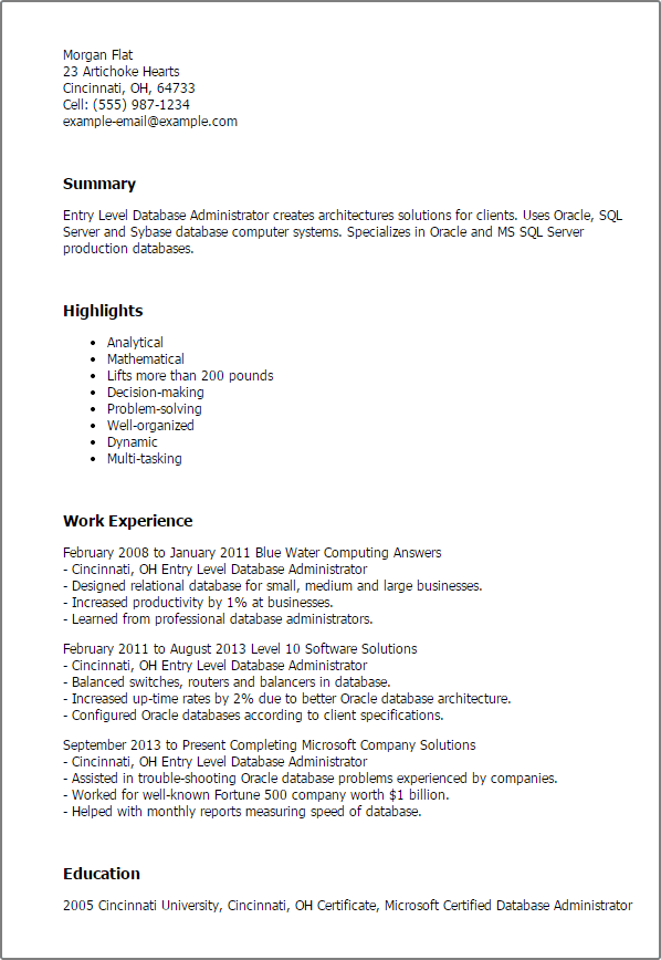 Entry Level Database Administrator Resume Templates Mpr