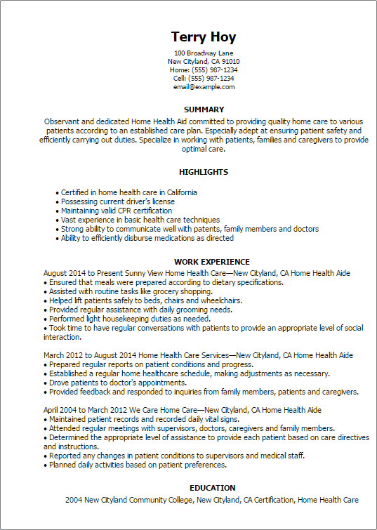 home care assistant resume resume sample