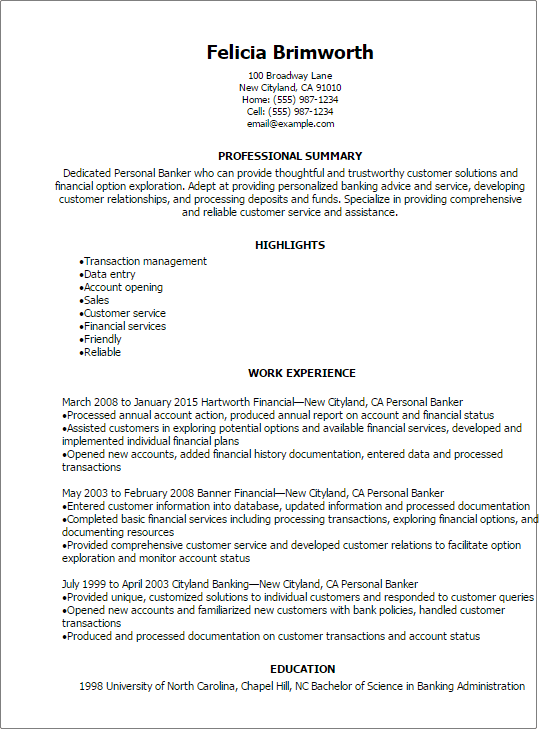 banking resume template resume sample