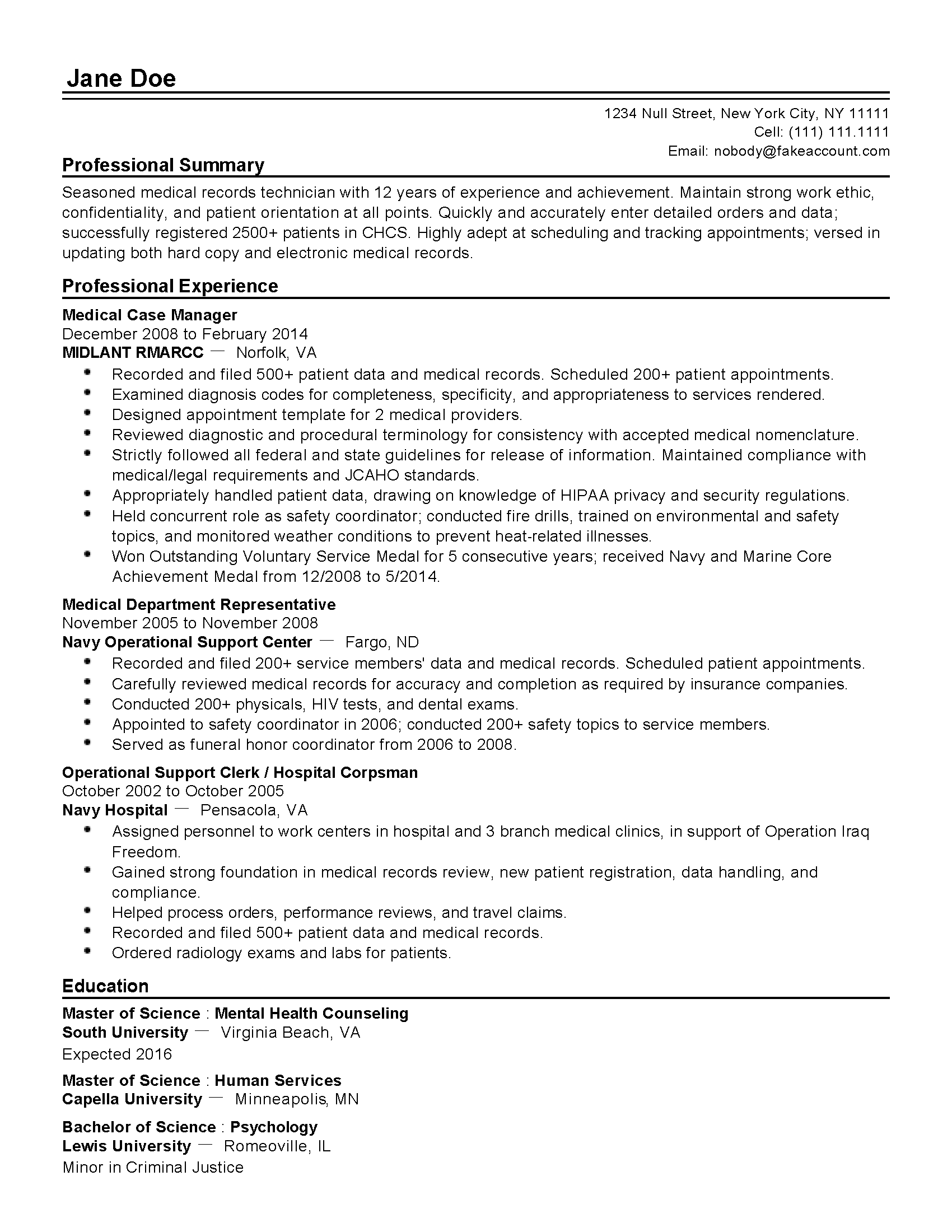 Resume Examples Medical Records Clerk