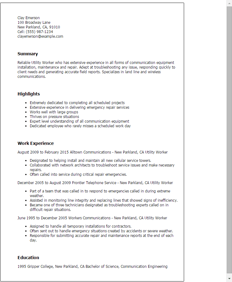 Utility Worker Cover Letter