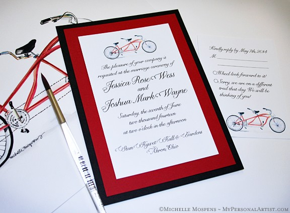 Bicycle Built For Two Wedding Invitations Custom