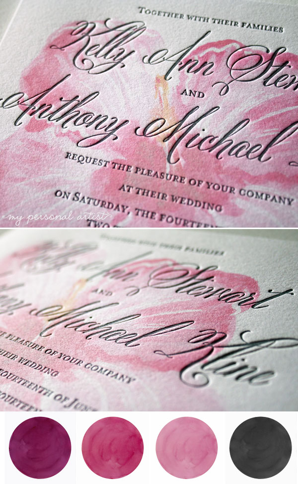 letterpress wedding invitations pink gray