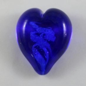 Pet Ashes into Glass Heart: Wisp Blue
