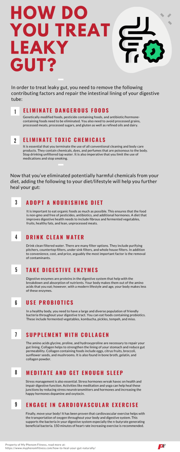 how to treat leaky gut infographic