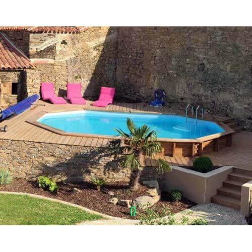 piscine bois cannelle 551 x 351 x h 119 cm