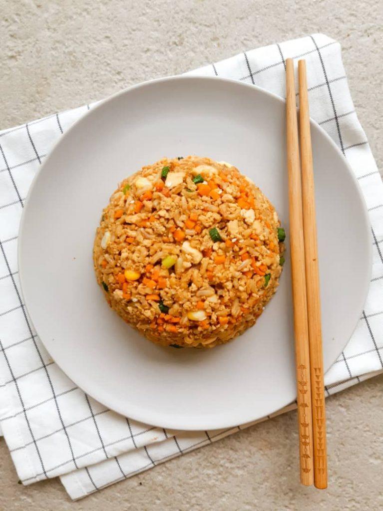 Vegan fried rice on plate