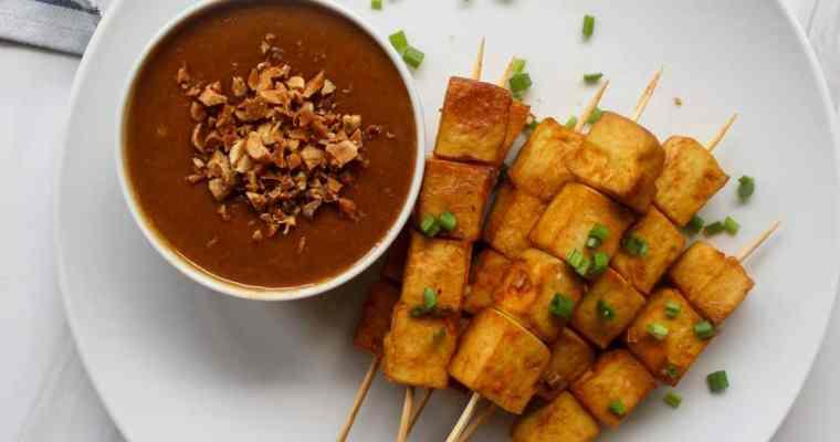Vegan Satay Skewers with Peanut Sauce
