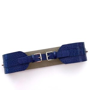 BELT WITH 2 BUCKETS Blue Croco