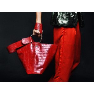 RING PLIK Red Croc Print