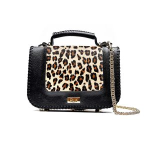 PLIK LOLA Black Saffiano Brown Leo Pony