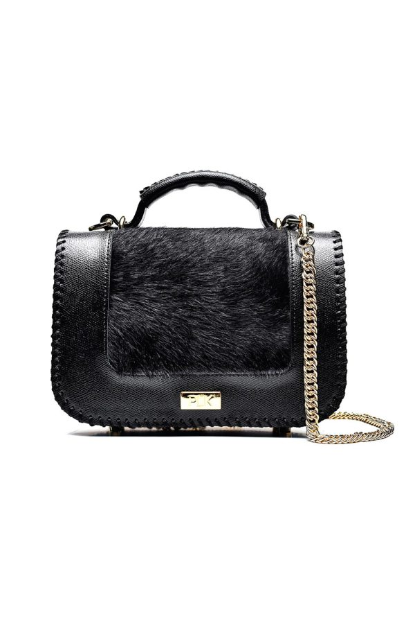 PLIK LOLA Black Saffiano Black Pony Hand Knitted