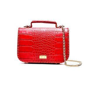 PLIK LOLA Red Croc Print Hand Knitted