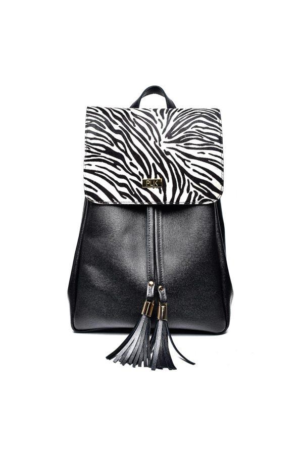 BACKPACK PLIK Black Saffiano Zebra Pony