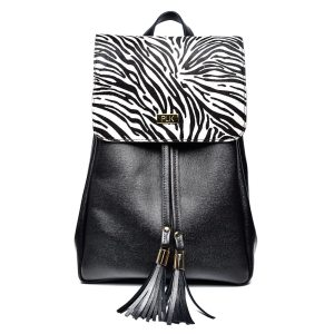 BACKPACK PLIK Black Saffiano Zebra Pony