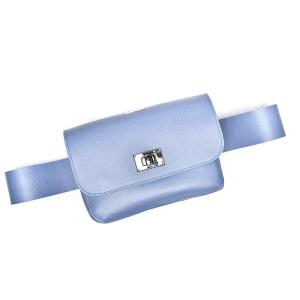 BELT BAG PLIK Dove gray blue Saffiano