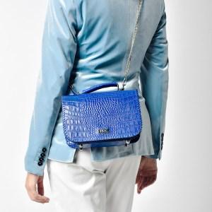 PLIK LOLA Blue Croc Print Hand knitted