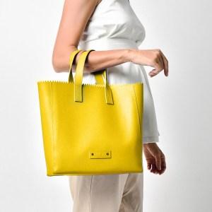 PAPER PLIK Mini Yellow Saffiano