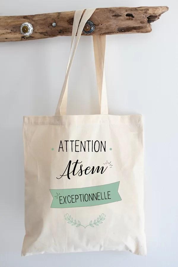 """Tote bag 100% coton """"atsem exceptionnelle"""""""