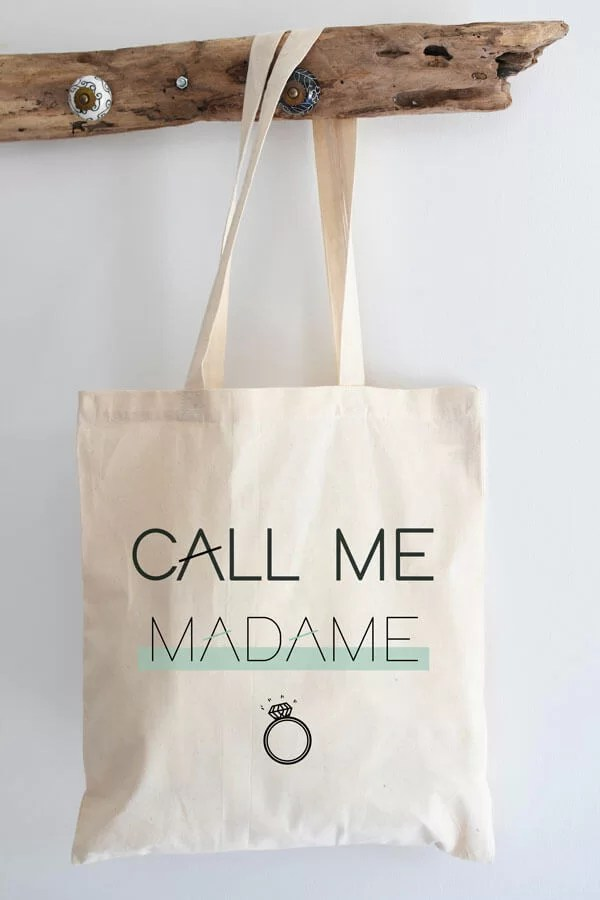 "tote bag en coton ""Call me Madame"""