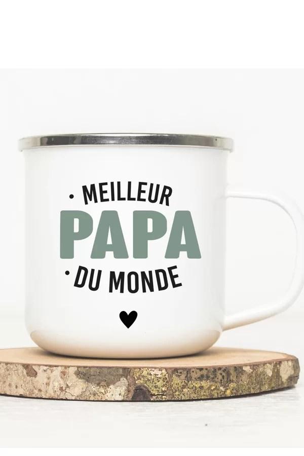 mug émaillé vintage meilleur papa du monde