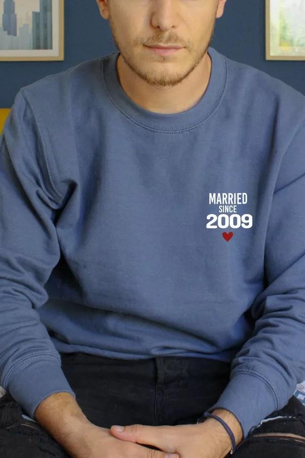 pull bleu homme personnalisé mariés