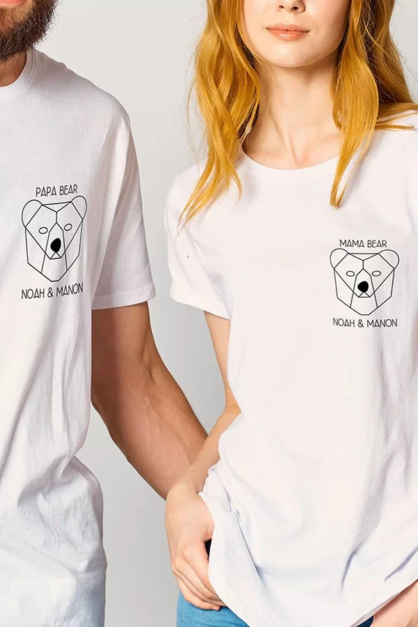 Duo de t-shirt couple personnalisable