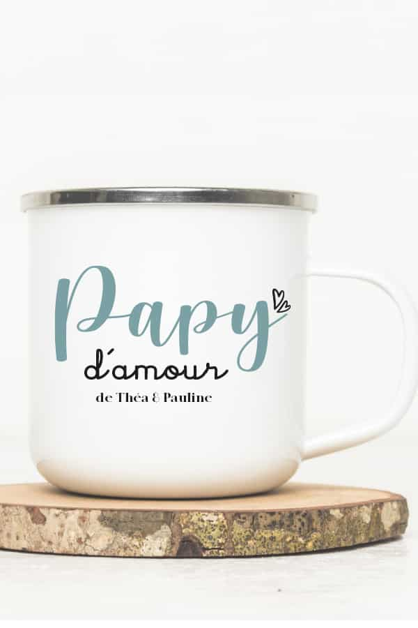 mug émaillé vintage Papy d'amour
